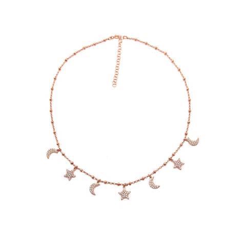 Collana girocollo/ strozzacollo/ choker argento 925 rosario oro rosa Lune e Stelle Zirconi