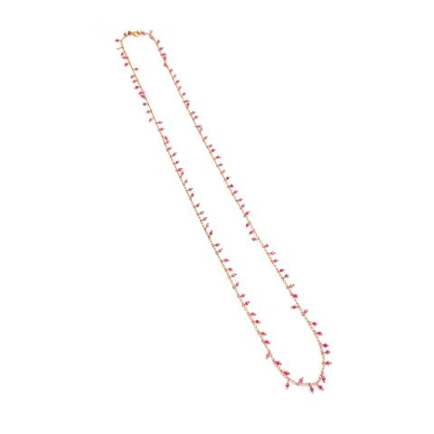Collana lunga argento 925 oro rosa rosario con cristalli Swarovski rosa