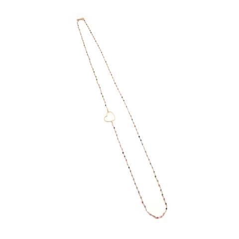 Collana lunga argento 925 oro rosa rosario Tormalina e cuore