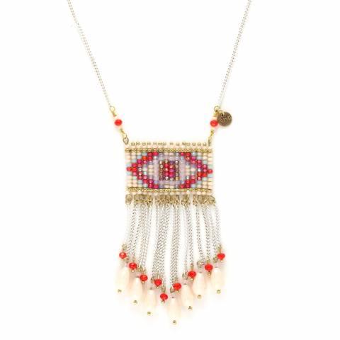 Collana lunga hippy con pendente cristalli rossi e bianchi e frangia catena