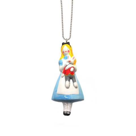 Collana lunga pendente porcellana 3D Alice nel paese delle Meraviglie