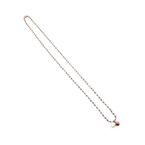 Collana lunga rosario argento 925 oro rosa Agata grigia con palloncino e Chiama angeli