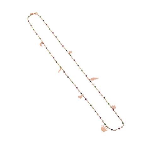 Collana lunga rosario argento 925 oro rosa perle, pietre dure multicolor e charms