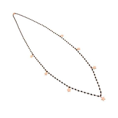 Collana lunga rosario argento 925 oro rosa Spinelli neri 7 Stelle