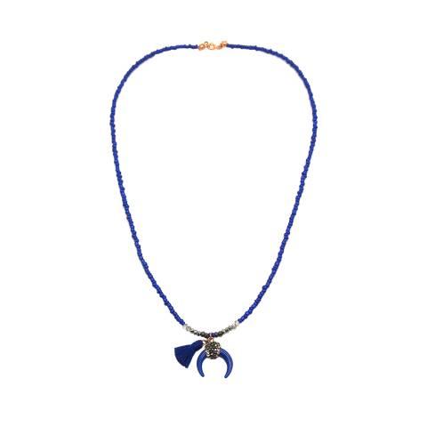 Collana media perline blu con mezza luna e nappina