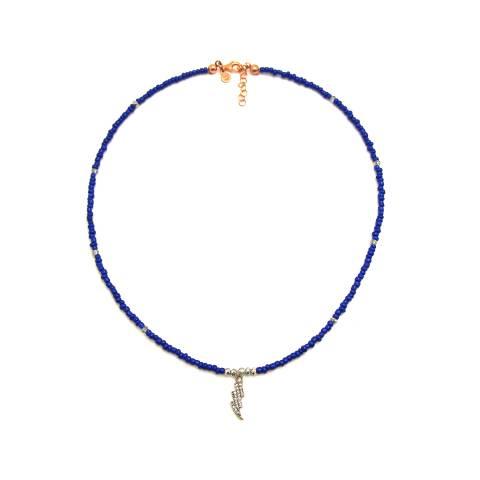 Collana micro perline blu e Fulmine Zirconi