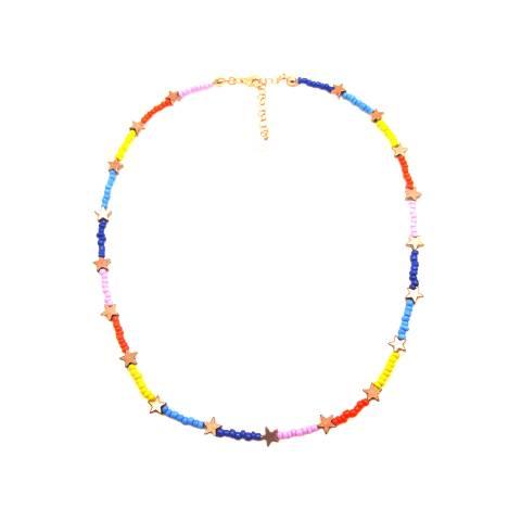 Collana micro perline vetro multicolor e stelle bronzo