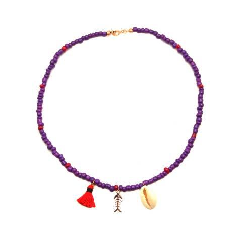 Collana perle di vetro viola e rosse con conchiglia e lisca di pesce