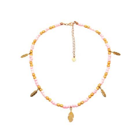 Collana perle vetro rosa e oro Piume
