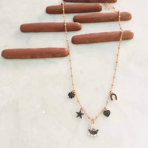 Collana rosario argento 925 oro rosa e 5 Lucky charms Zirconi neri