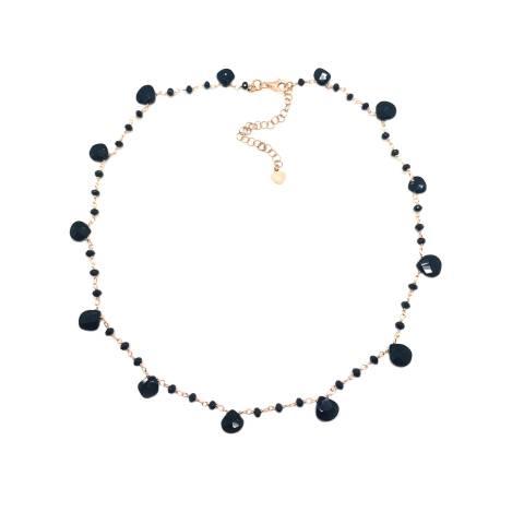 Collana rosario argento 925 oro rosa Spinelli neri goccia
