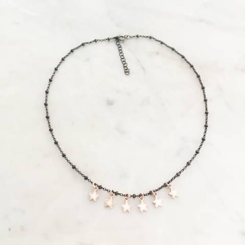Collana rosario argento 925 rodiato nero Vega