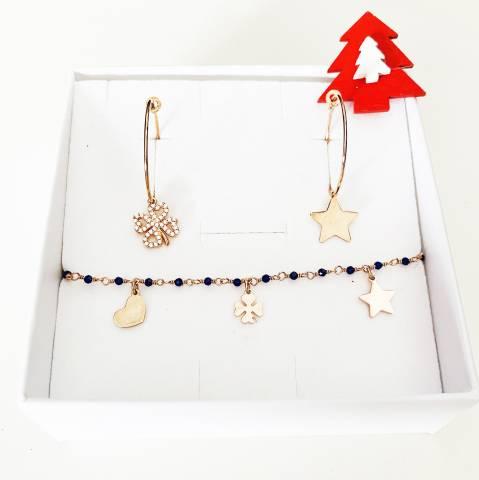 Combo orecchini cerchio + bracciale argento 925 oro rosa Lucky