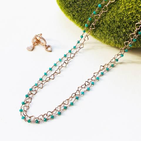 Combo orecchini cerchio  + collana argento 925 oro rosa Smeraldo