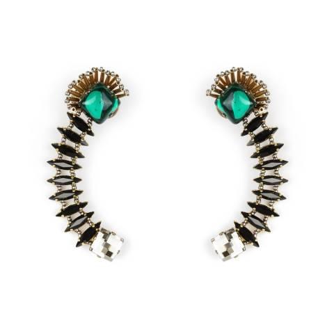 Ear cuffs cristalli Swarovski neri e verdi