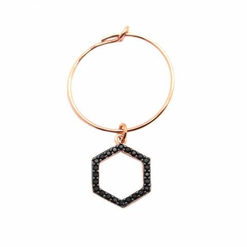 Mono-orecchino a cerchio 1,4cm argento 925 oro rosa Esagono Zirconi neri