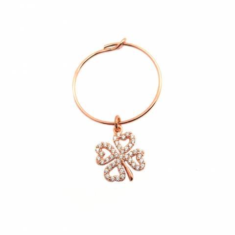 Mono-orecchino a cerchio 1,7cm argento 925 oro rosa Quadrifoglio Zirconi