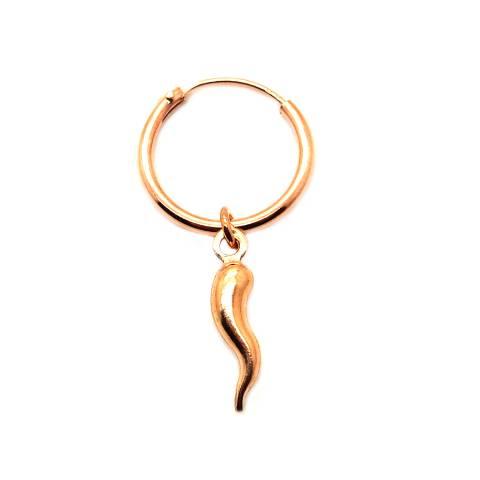 Mono-orecchino a cerchio 1cm argento 925 oro rosa Cornetto