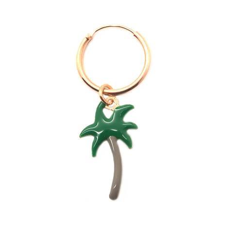 Mono-orecchino a cerchio 1cm argento 925 oro rosa Palma smalto