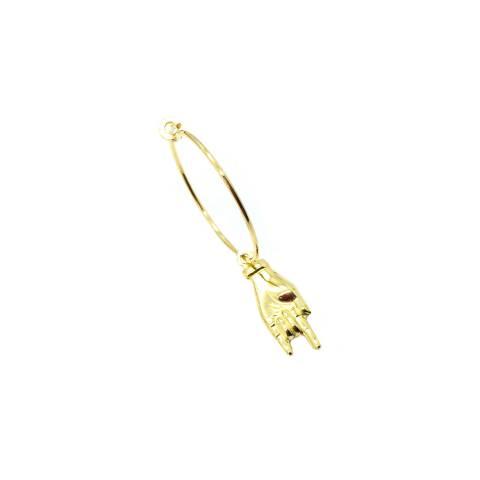 Mono-orecchino a cerchio 2cm argento 925 oro giallo mano corna