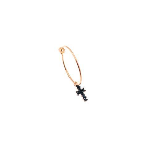 Mono-orecchino a cerchio 2cm argento 925 oro rosa Croce Zirconi neri