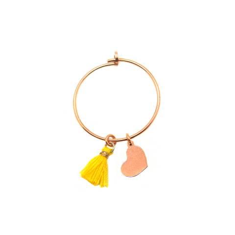 Mono-orecchino a cerchio 2cm argento 925 oro rosa Cuore + nappina gialla