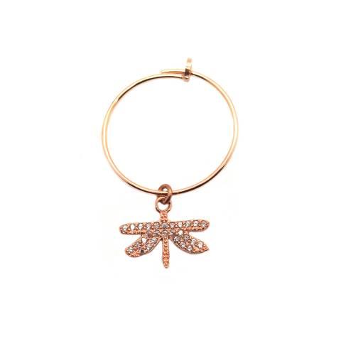 Mono-orecchino a cerchio 2cm argento 925 oro rosa Libellula Zirconi