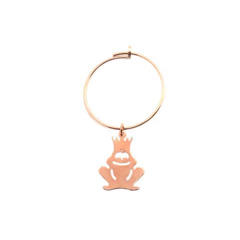 Mono-orecchino a cerchio 2cm argento 925 oro rosa Principe Ranocchio