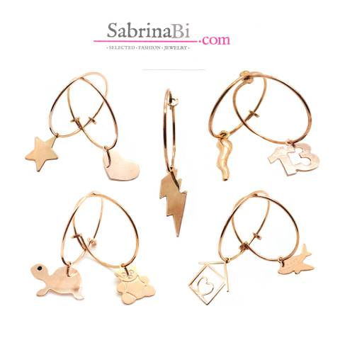 Mono orecchino cerchio filo argento 925 oro rosa 2cm + charm a scelta