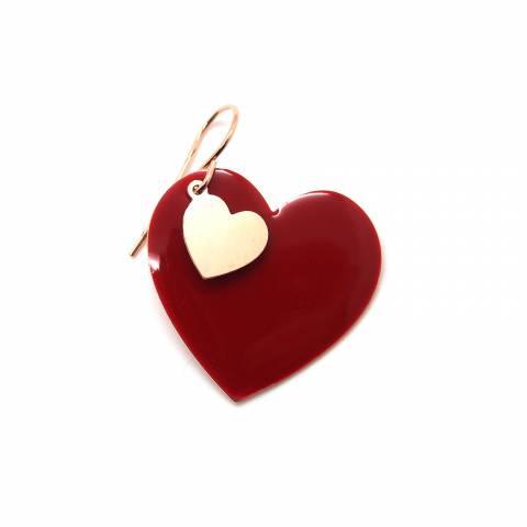 Mono-orecchino cuore con smalto rosso e cuore oro rosa