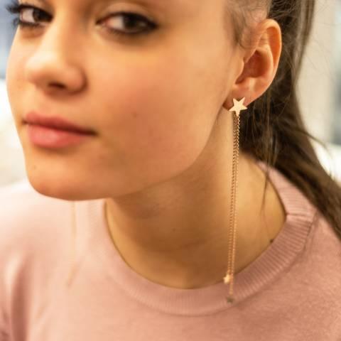 Mono orecchino lunghissimo argento 925 oro rosa catene e stelle