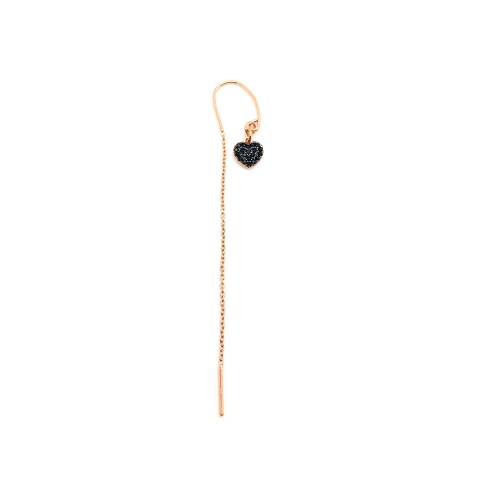 Mono orecchino thread a filo argento 925 oro rosa cuore Zirconi neri