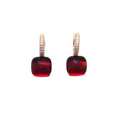 Orecchini a cerchio argento 925 oro rosa Rubellite rosso rubino