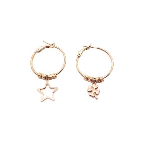 Orecchini a cerchio medio argento 925 oro rosa Stella e Quadrifoglio