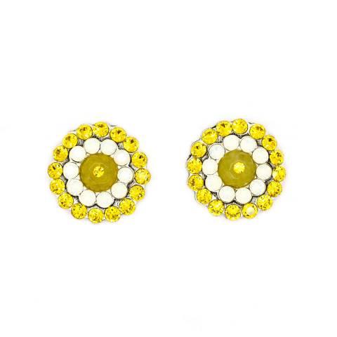 Orecchini a clip argento tondi cristalli gialli