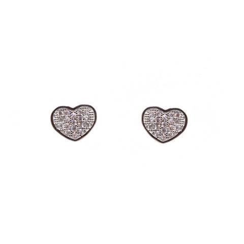 Orecchini a lobo argento 925 cuore piccolo Zirconi