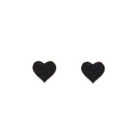 Orecchini a lobo argento 925 oro rosa cuore grande Zirconi neri