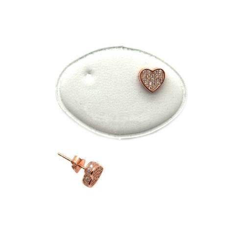 Orecchini a lobo argento 925 oro rosa cuore tridimensionale Zirconi