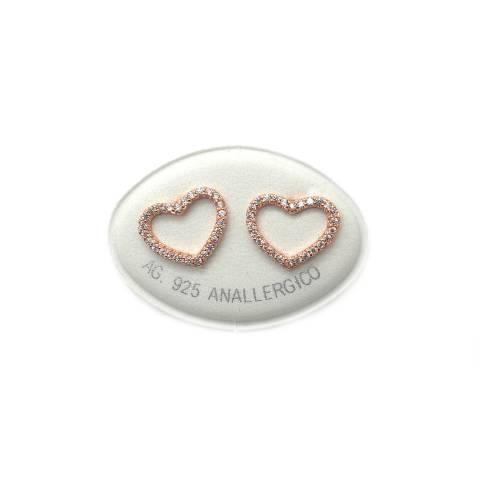 Orecchini a lobo argento 925 oro rosa cuore vuoto grande Zirconi