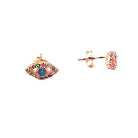 Orecchini a lobo argento 925 oro rosa Evil Eye Occhio di Allah Zirconi multicolor
