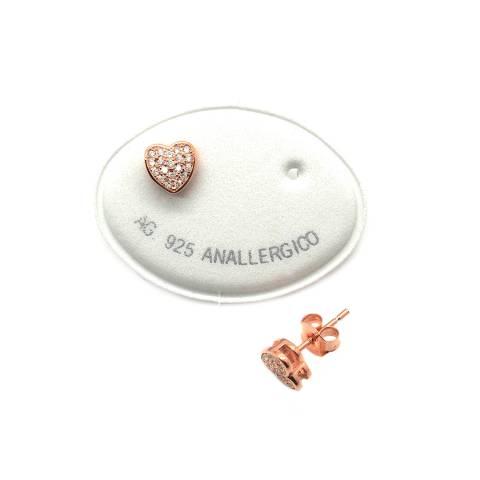 Orecchini a lobo argento 925 oro rosa Hearts Zirconi