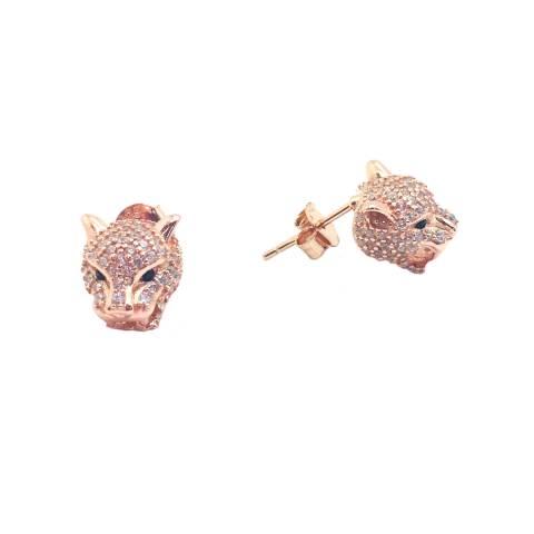 Orecchini a lobo argento 925 oro rosa Pantera Zirconi