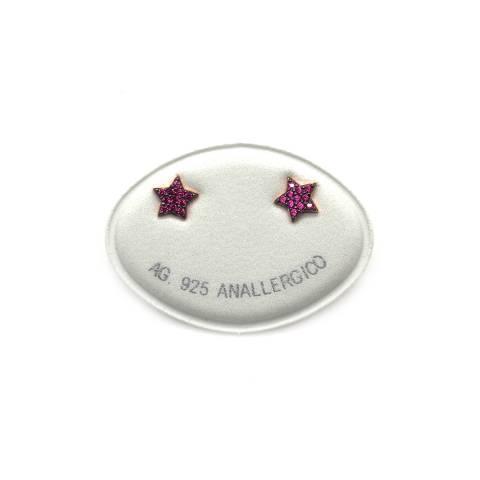 Orecchini a lobo argento 925 oro rosa Ruby Star