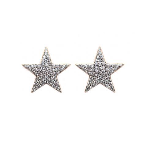 Orecchini a lobo argento 925 oro rosa Stella grande Zirconi