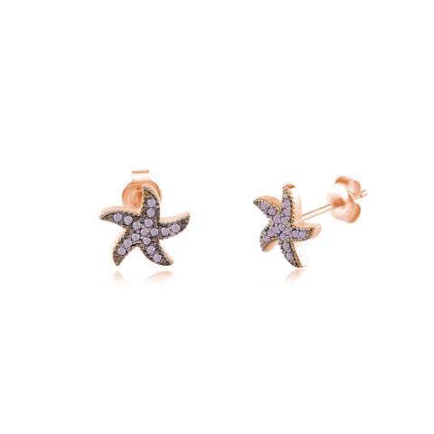 Orecchini a lobo argento 925 oro rosa Stella Marina brillanti glicine