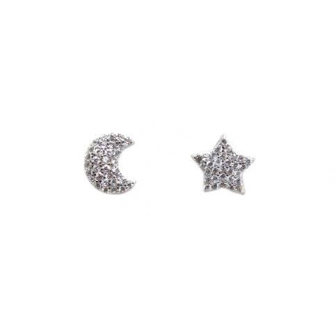 Orecchini a lobo argento 925 Stella e Luna Zirconi