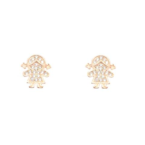 Orecchini a lobo argento oro rosa Bambina Zirconi
