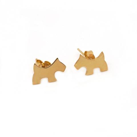 Rose gold plated sterling silver dog stud earrings