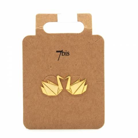 Orecchini a lobo oro cigno origami