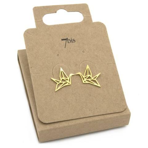 Orecchini a lobo oro uccello gru origami